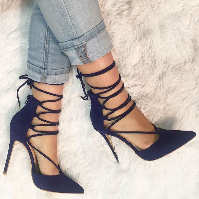 High Heels   Lace Up Pointed Toe Pumps... - Flashmode Worldwide ...