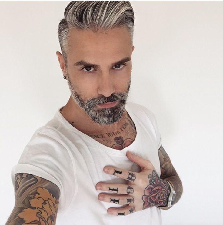 Mens Haircuts Grey Hair Street Style Funky Hair And Beard Option For