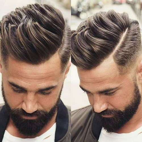 Men S Haircuts Textured Quiff With Low Fade And Part