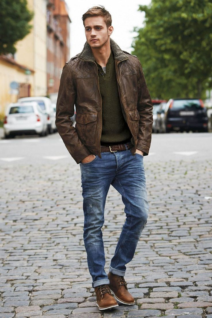 Men's Style & Look 2017 / 2018 : Brown Leather Jacket, Dark Green ...