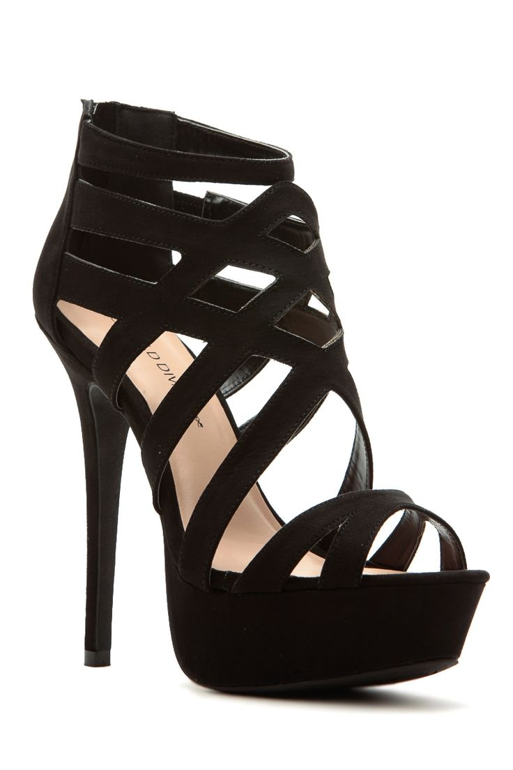 3e9479bdd4fe High Heels   Black Faux Suede Cross Strap Platform Heels   Cicihot ...