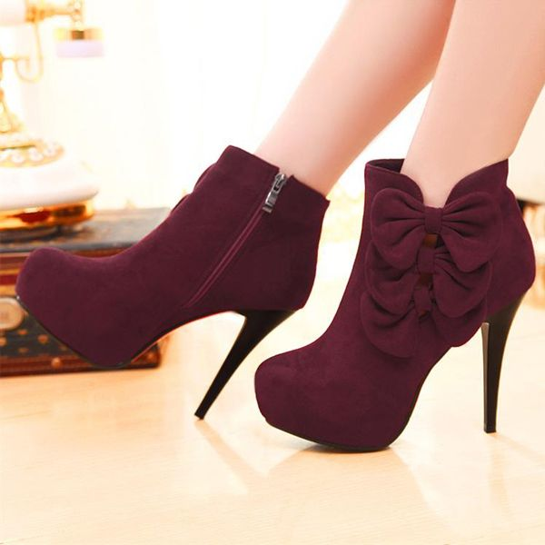 3b5e3fa2d140 High Heels   Elegant Bow Embellished Stiletto Heel Fashion Boots ...