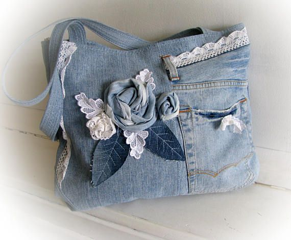 Bags handbag trends jean blue boho bag with applique a rose