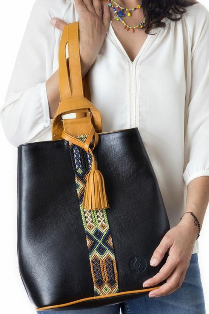 bags handbag trends sac dos femme tendance en noir avec une bande d corative style. Black Bedroom Furniture Sets. Home Design Ideas
