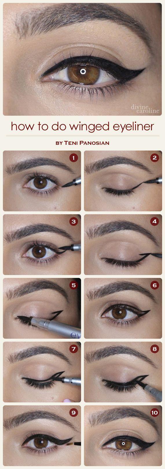 Best ideas for makeup tutorials how to do winged eyeliner easy description baditri Choice Image