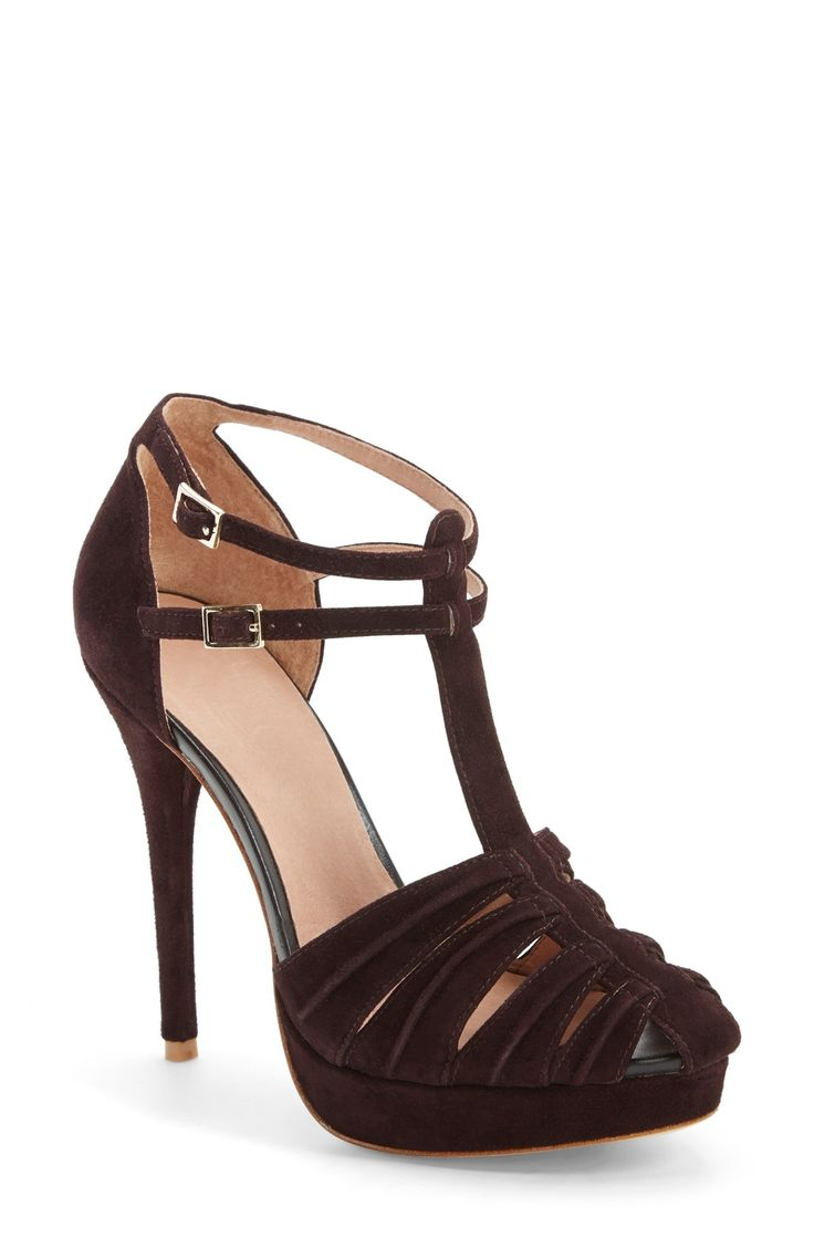 High Heels  Love This Sexy, Suede Platform Sandal The T-Strap And Double Ankle -1159