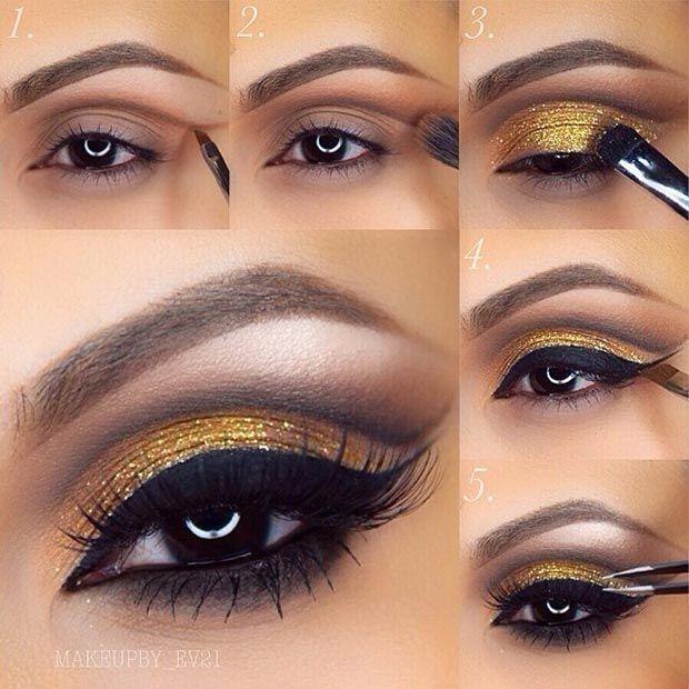 Best Ideas For Makeup Tutorials Cut Crease Gold Glitter Eye