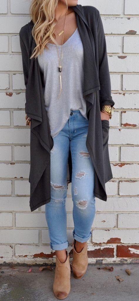 b3a2b2813ddc Bags   Handbag Trends   Women s Fashion Fall Outfit Gray Cardigans ...