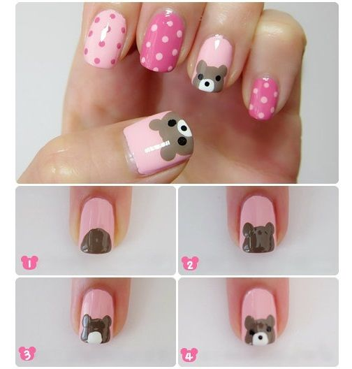 Best Ideas For Makeup Tutorials Bear And Polka Dots Nail Art