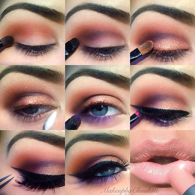 Best Ideas For Makeup Tutorials Purple Peach Eye Makeup Step By Step