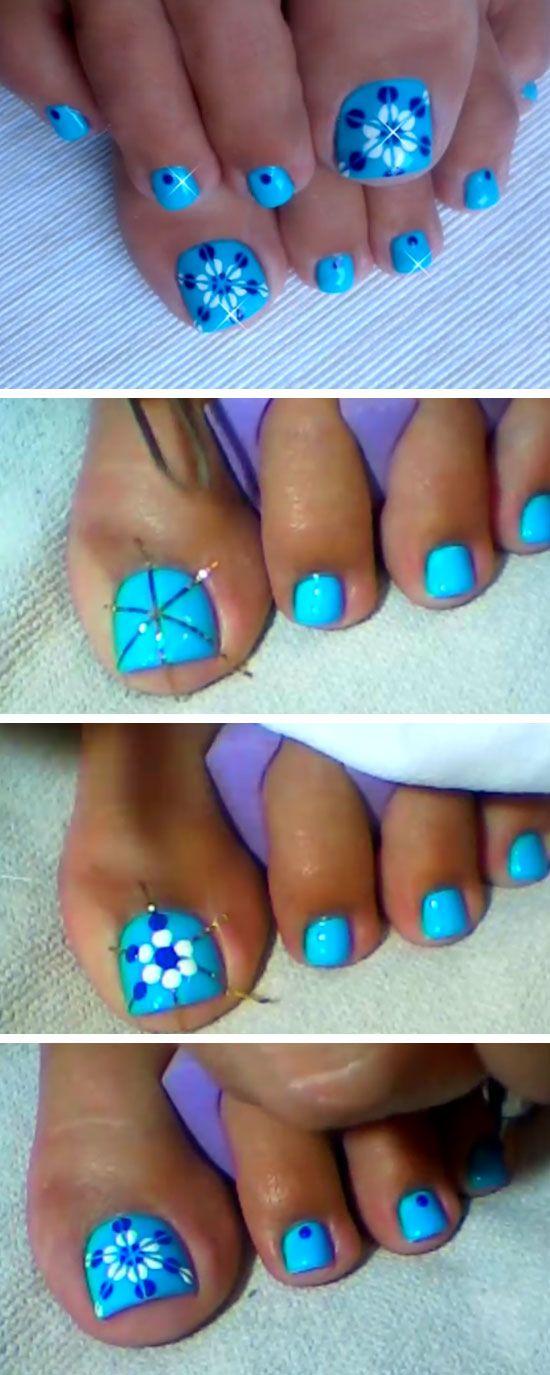Best Ideas For Makeup Tutorials Blue Floral Nail Design 18 Diy