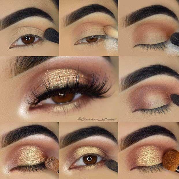 Best Ideas For Makeup Tutorials Gold Glitter Eye Makeup Tutorial