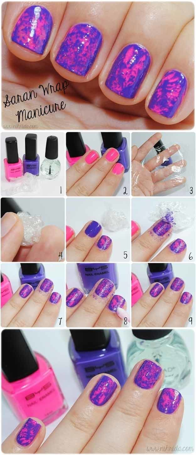 Best Ideas For Makeup Tutorials Saran Wrap Mani Easy And Cute Nail