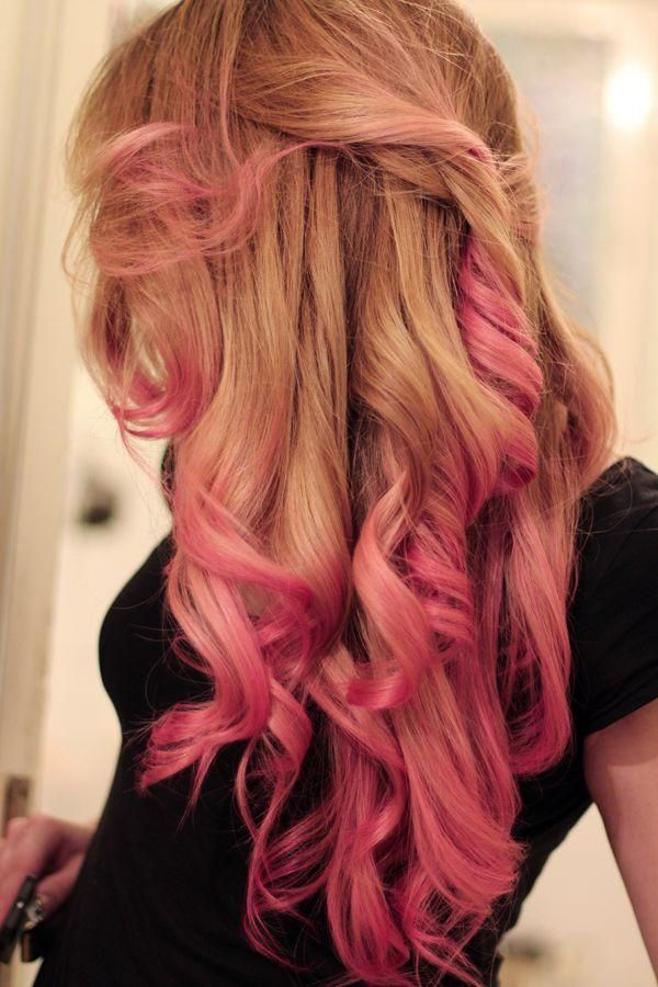 Suggest blonde hair with pink streaks how