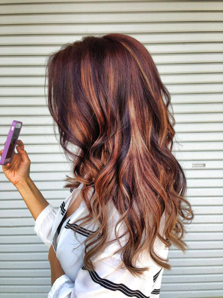 Summer Hairstyles : dark brown hair with blonde and red highlights ...