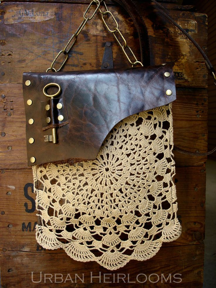 e9f5fbb956 Bags   Handbag Trends   Leather Festival Bag with Crochet Lace Doily ...