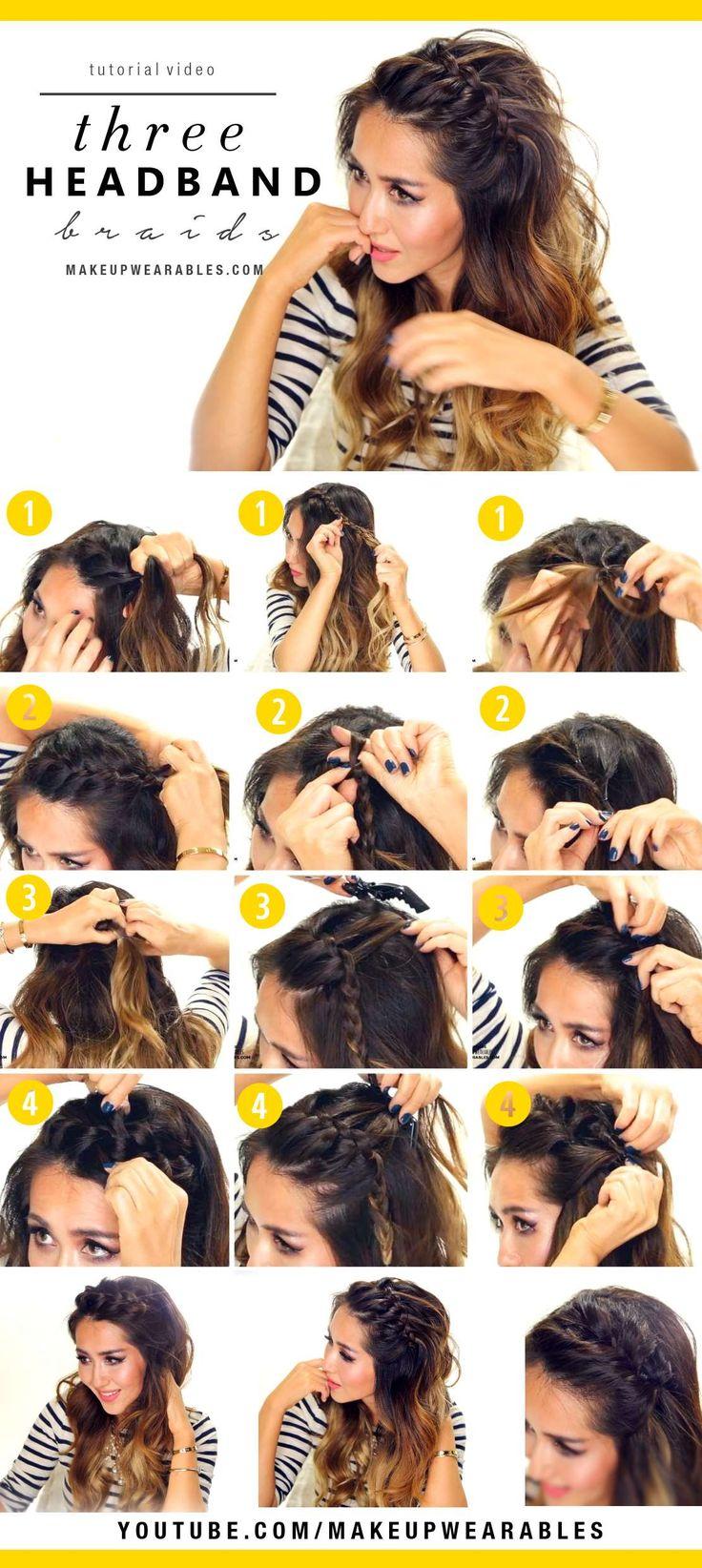 Summer Hairstyles 3 Easy Headband Braids Cute Half Up Hairstyles