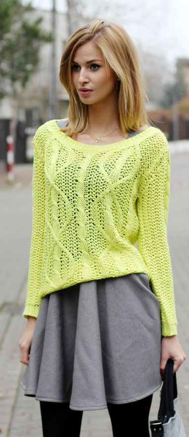 Summer Hairstyles Lime Open Weave Cable Knit Sweater By Beauty