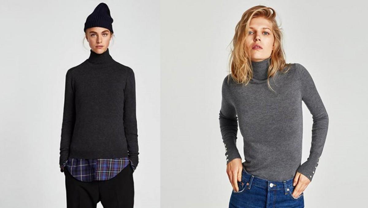 Pull Zara Basic en couleurs gris et noir