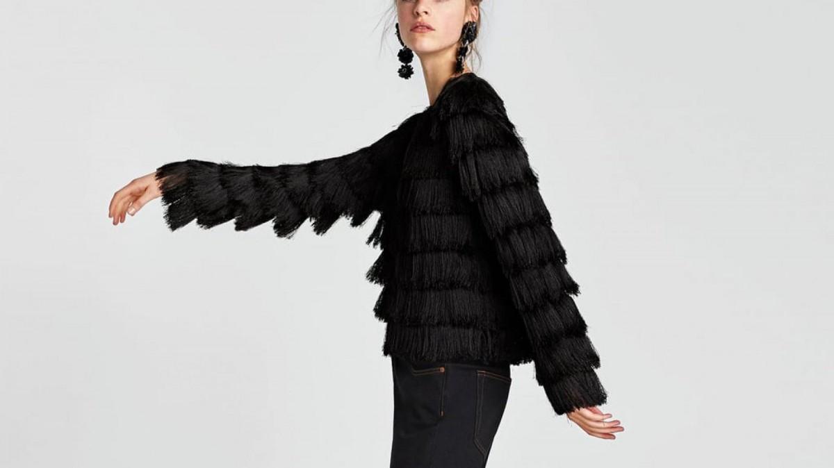 Veste Zara à franges, pour 49,95 euros